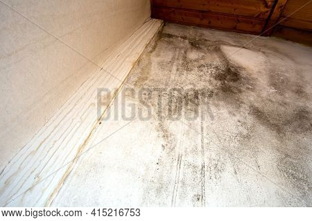 Black Mold In The Corner, Old Ceiling Of Building, Water Damage Causing Mold Growth, Dangerous Toxic