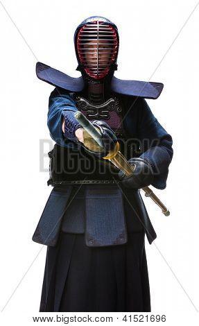 Full length portrait of kendoka, isolated on white. Japanese martial art of sword fighting