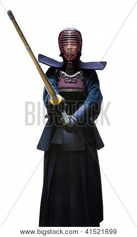 Full length portrait of kendoka, isolated. Japanese martial art of sword fighting