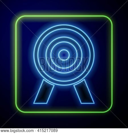 Glowing Neon Target Icon Isolated On Blue Background. Dart Board Sign. Archery Board Icon. Dartboard
