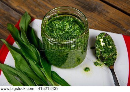 Fresh Homemade Wild Garlic Pesto. Home Made Sauce Made With Wild Garlic, Pine Nuts, Cheese And Olive