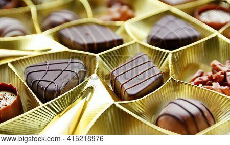 Selection Of Fine Milk And Dark Chocolate Belgian Pralines.