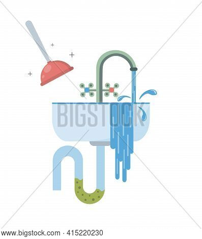 Water Flows From The Sink. Blockage Of Pipe. Sink In The Bathroom Or Kitchen. Broken Sewer System. S