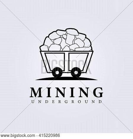 Simple Mining Logo, Wagon, Train Mining Logo Vector Illustration Design
