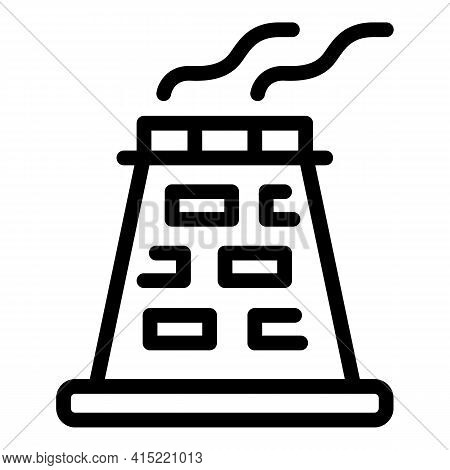 Power Station Chimney Icon. Outline Power Station Chimney Vector Icon For Web Design Isolated On Whi