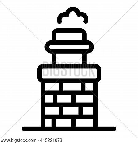 Exterior Chimney Icon. Outline Exterior Chimney Vector Icon For Web Design Isolated On White Backgro