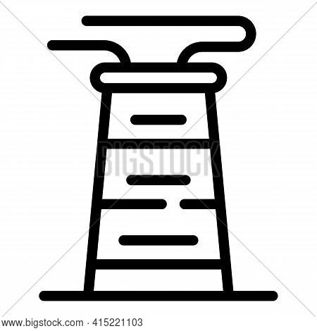 Refinery Chimney Icon. Outline Refinery Chimney Vector Icon For Web Design Isolated On White Backgro