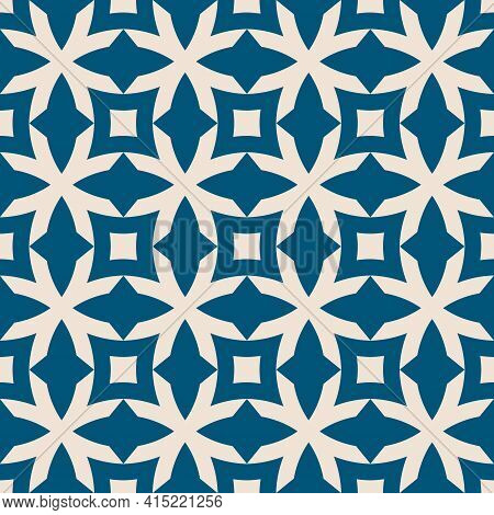 Vector Geometric Seamless Pattern With Flower Shapes, Crosses, Squares, Grid, Lattice. Floral Geomet