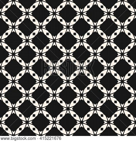 Vector Abstract Monochrome Seamless Pattern With Carved Grid, Lattice, Crosses, Diamond Shapes, Squa