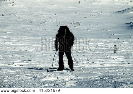 Tourist Skier On A Long Distance Route