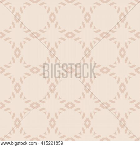 Subtle Vector Geometric Ornament. Simple Abstract Seamless Pattern With Diamond Grid, Mesh, Net, Lat