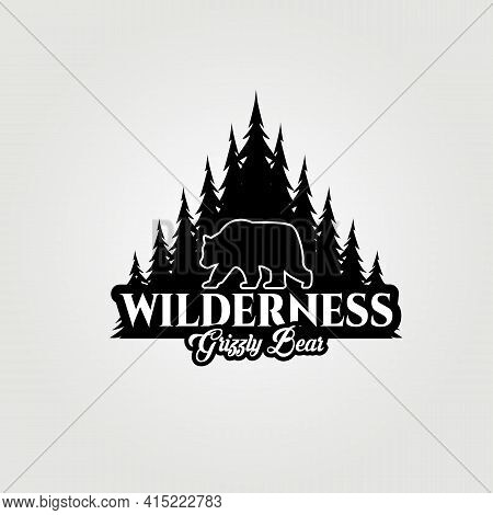 Bear Logo, Grizzly Bear, Wildlife Logo, Bear Vector Illustration Design