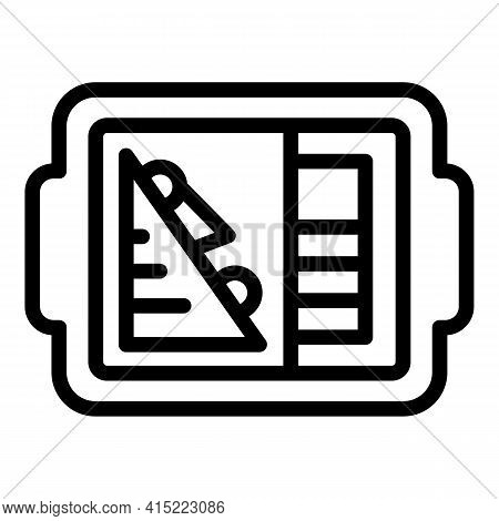 Tray Lunch Icon. Outline Tray Lunch Vector Icon For Web Design Isolated On White Background