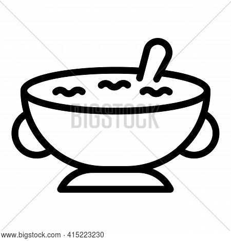 Lunch Bowl Icon. Outline Lunch Bowl Vector Icon For Web Design Isolated On White Background