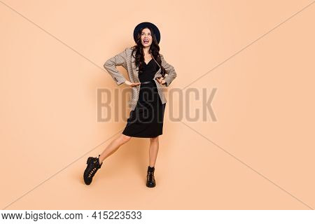 Full Length Body Size Photo Of Funky Pretty Woman In Hat Dancing At Party Dreamy Isolated On Pastel