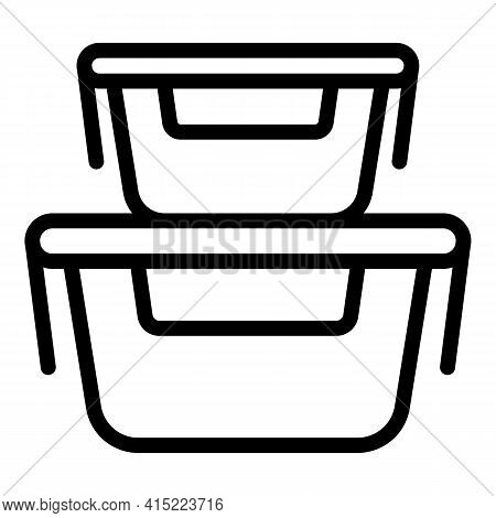 Containers Meal Icon. Outline Containers Meal Vector Icon For Web Design Isolated On White Backgroun