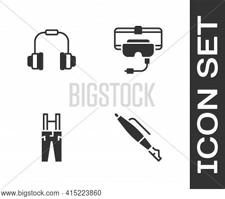 Set Fountain Pen Nib, Headphones, Pants With Suspenders And Virtual Reality Glasses Icon. Vector