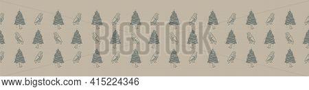 Hand Carved Owl Block Print Seamless Border Pattern. Rustic Naive Folk Motif Illustration Banner. Mo