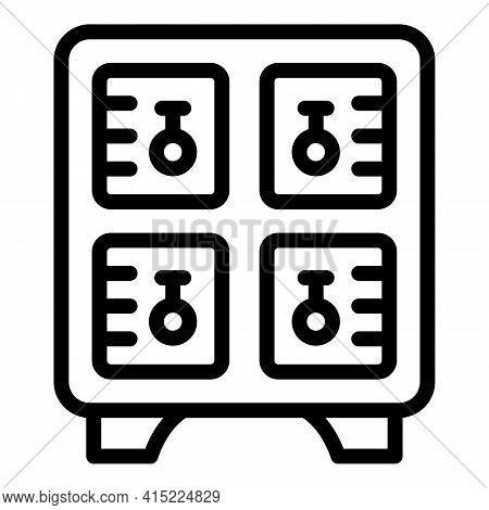Aquapark Locker Icon. Outline Aquapark Locker Vector Icon For Web Design Isolated On White Backgroun