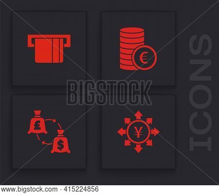 Set Coin Money With Yen, Credit Card Inserted, Euro Symbol And Currency Exchange Icon. Vector