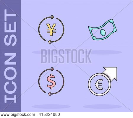 Set Financial Growth And Euro, Coin Money With Yen, Dollar And Stacks Paper Cash Icon. Vector