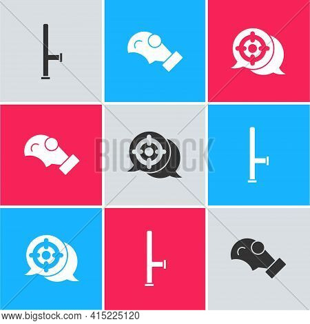 Set Police Rubber Baton, Gas Mask And Target Sport Icon. Vector