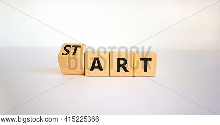 Start Art Symbol. Turned The Cube And Changed The Word 'start' To 'art'. Beautiful White Table, Whit