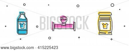 Set Bottle For Cleaning Agent, Industry Pipe And Manometer And Laundry Detergent Icon. Vector