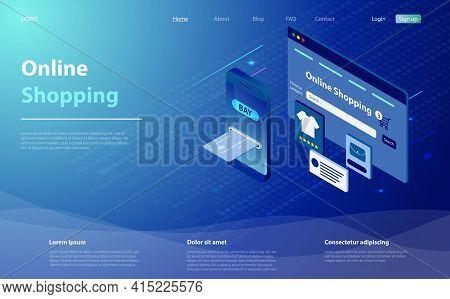 E-commerce Or Online Shopping Concept. Concept Of Mobile Marketing And E-commerce. Online Shopping O