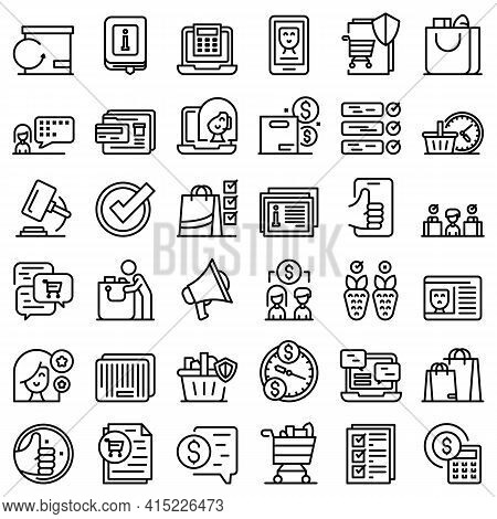 Consumer Rights Icons Set. Outline Set Of Consumer Rights Vector Icons For Web Design Isolated On Wh