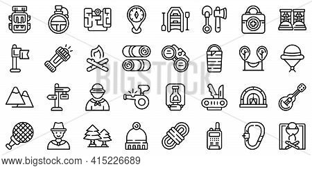 Scouting Icons Set. Outline Set Of Scouting Vector Icons For Web Design Isolated On White Background