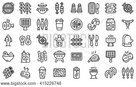 Grilled Food Icons Set. Outline Set Of Grilled Food Vector Icons For Web Design Isolated On White Ba