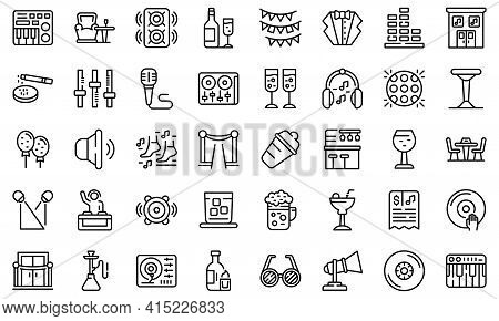 Night Club Icons Set. Outline Set Of Night Club Vector Icons For Web Design Isolated On White Backgr