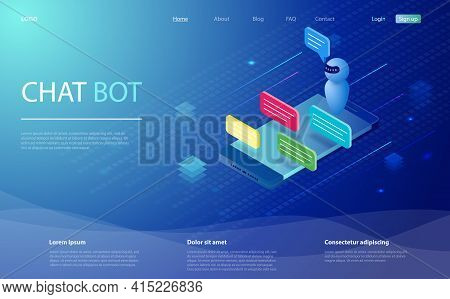 Chatbot Isometric Vector Illustration. Chat Bot And Future Marketing. Ai And Business Iot Concept. C