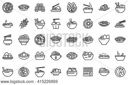 Korean Cuisine Icons Set. Outline Set Of Korean Cuisine Vector Icons For Web Design Isolated On Whit