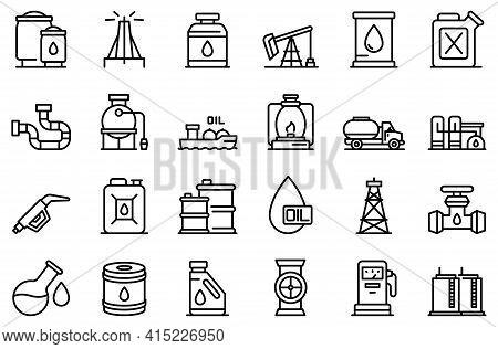 Kerosene Icons Set. Outline Set Of Kerosene Vector Icons For Web Design Isolated On White Background