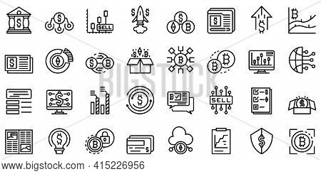 Emerging Market Icons Set. Outline Set Of Emerging Market Vector Icons For Web Design Isolated On Wh