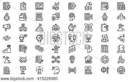 Realization Icons Set. Outline Set Of Realization Vector Icons For Web Design Isolated On White Back