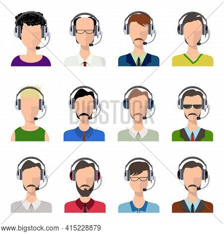 Vector Male And Female Call Center Avatars In A Flat Style With A Headset, Conceptual Of Business Co