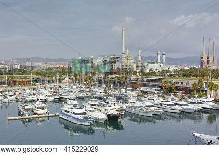 Maritime Port In A Mediterranean Port In Barcelona, Spain