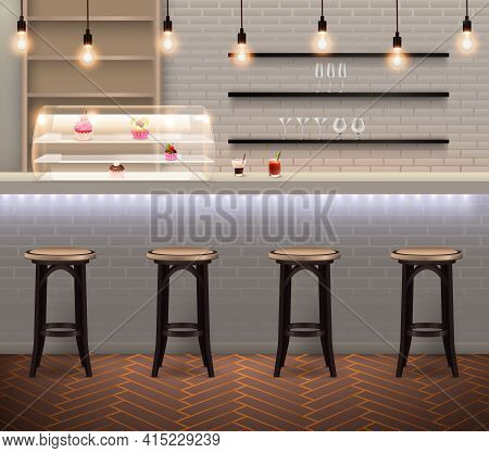 Coffee Shop Modern Trendy Interior With Bar Stools And Counter With Pastry At Brick Wall Background