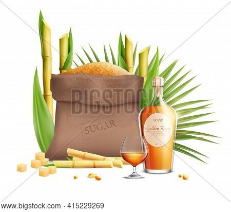 Cane Sugar Realistic Composition With Products Made From This Type Of Sugar Vector Illustration