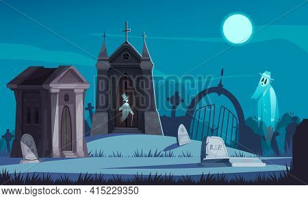 Spooky Cemetery With Old Crypts Gravestones And Walking Ghosts In Moonlight Cartoon Vector Illustrat