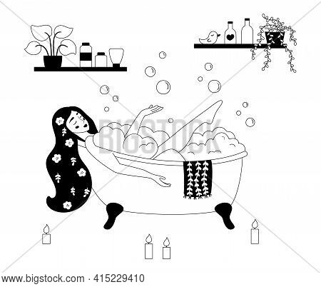 Outline Illustration Of Bathroom. Woman Taking A Bath With Bubble. Black And White Illustration. Car