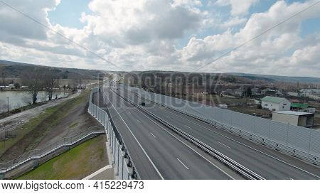 Flying Drone On Country Road With Tunnel. Shot. Beautiful Panorama With Country Highway And Drone Fo