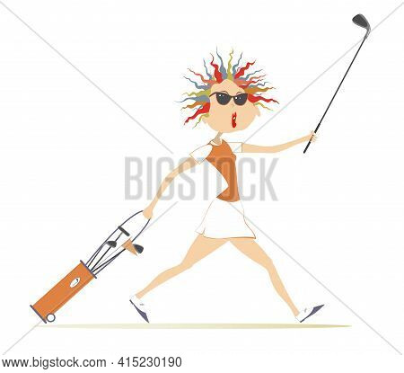 Smiling Golfer Woman Goes To Play Golf Illustration.  Cartoon Woman In Sunglasses With Golf Bag And
