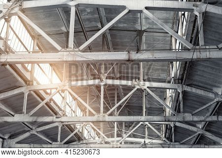 Old Abandoned Decay Industry Factory Or Plant Roof Ceiling Interior With Concrete And Steel Metal Co