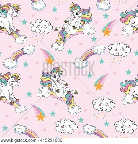Seamless Pattern With Funny Unicorns And Rainbows On Pink Background. Vector Illustration For Party,