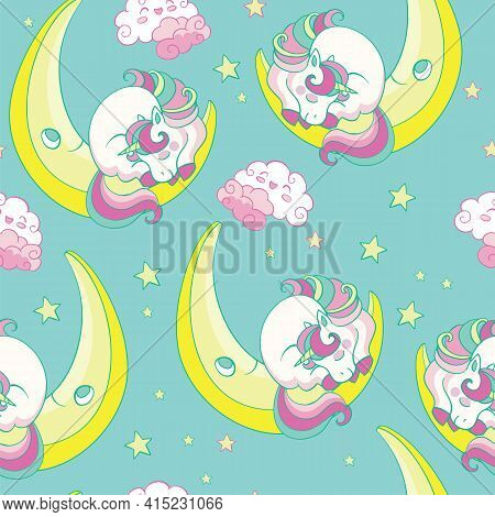 Seamless Pattern With Sleeping Baby Unicorn On The Moon On Turquoise Background. Vector Illustration