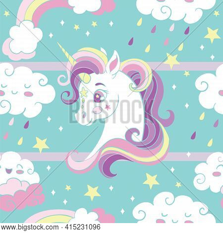 Seamless Pattern With Heads Of Unicorn And Rainbow Rain Clouds On Turquoise Background. Vector Illus